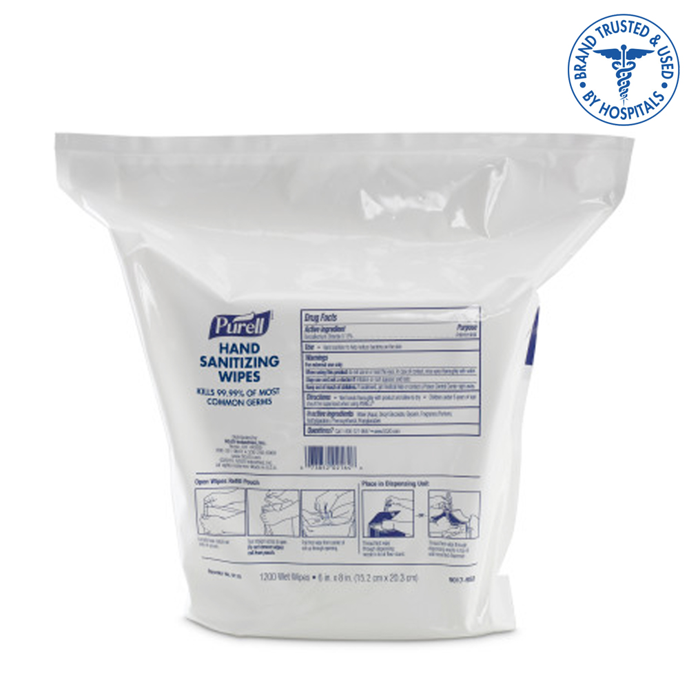 Gojo Ind. - Purell Sanitizing Wipes Refill Pouch 1200 Sheet 9118-02