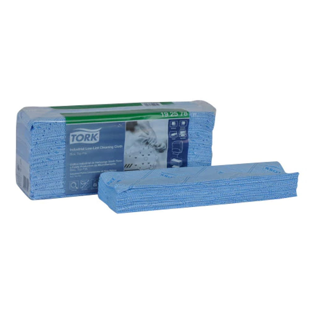 "Essity Professional - Tork Blue 15.4""x12.8"" 1 ply Top-Pak Industrial Low Lint Cleaning Cloth 19"