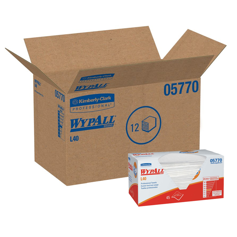 "Kimberly Clark White 12""x23"" Wypall L40 Professional Towels 05770"