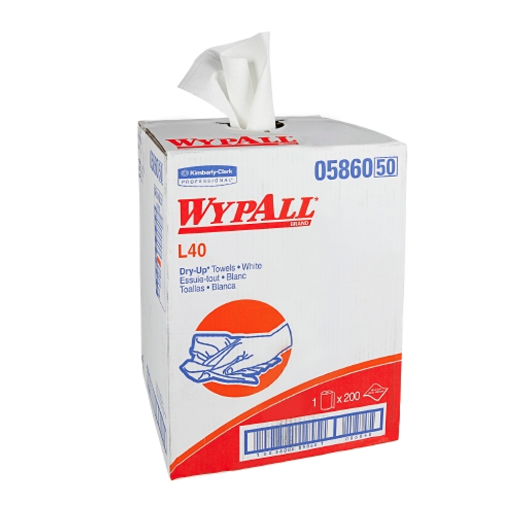 "Kimberly Clark White 19.5""x42"" Wypall L40 Dry-up Professional Towels 05860"