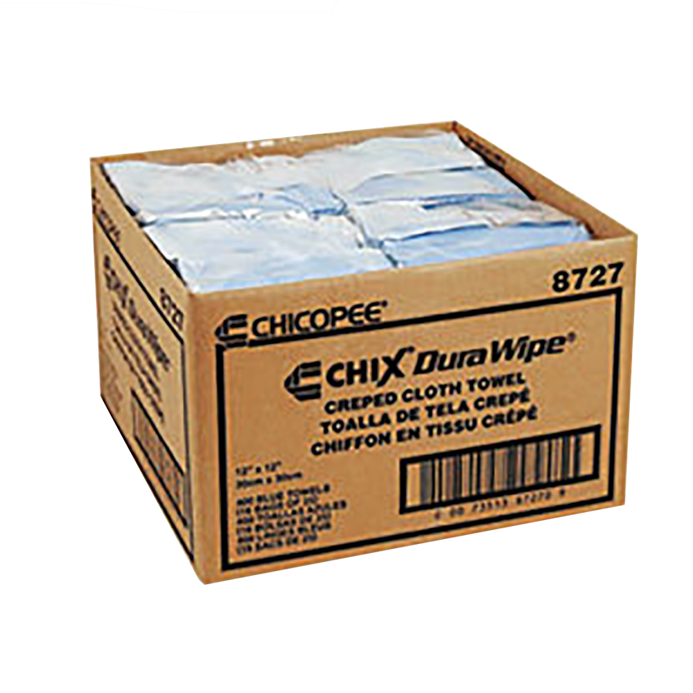 "Chicopee Blue 12""x12"" Durawipe Creped Cloth Towels 8727"