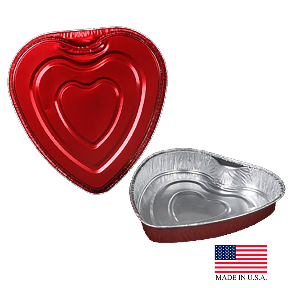 Durable Red Large Heart Foil Pan 9701V