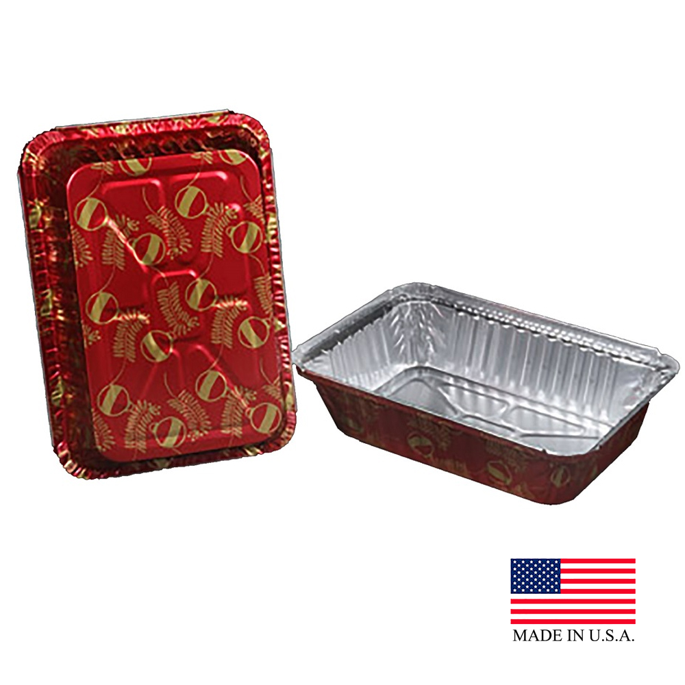 Durable Red 2.25lb Oblong Aluminum Holiday Pan With Plastic Dome Lid 9201X