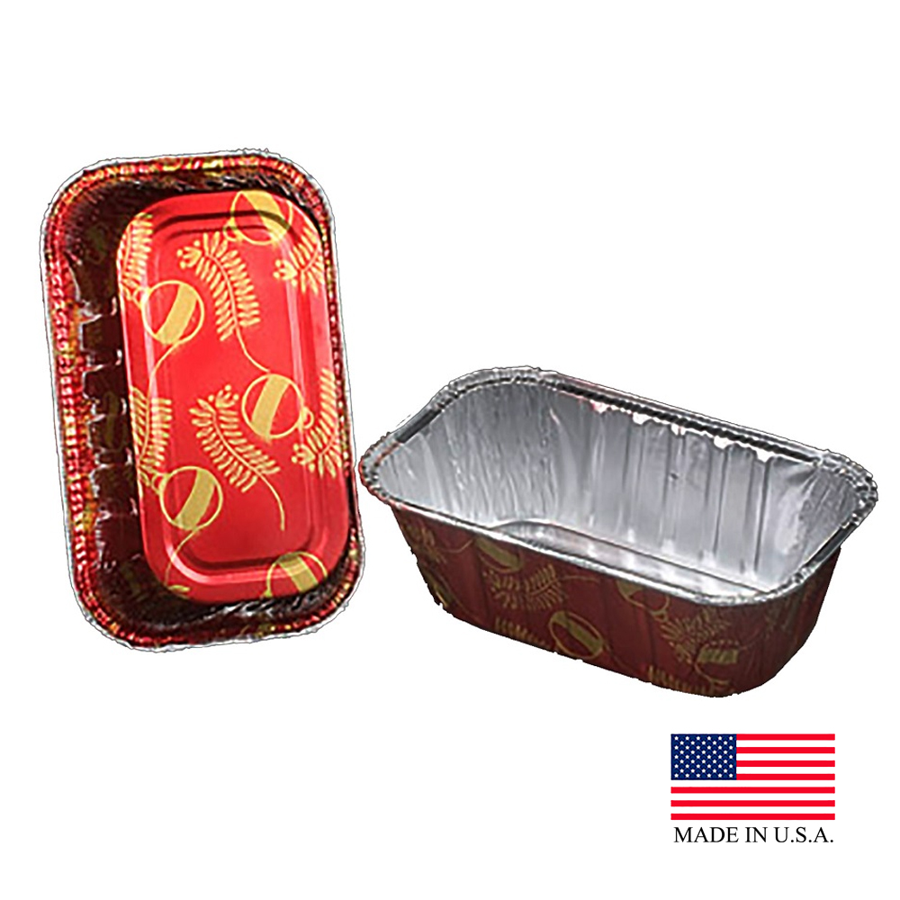 Durable Red 1lb Aluminum Holiday Loaf Pan With Plastic Dome Lid 9302X