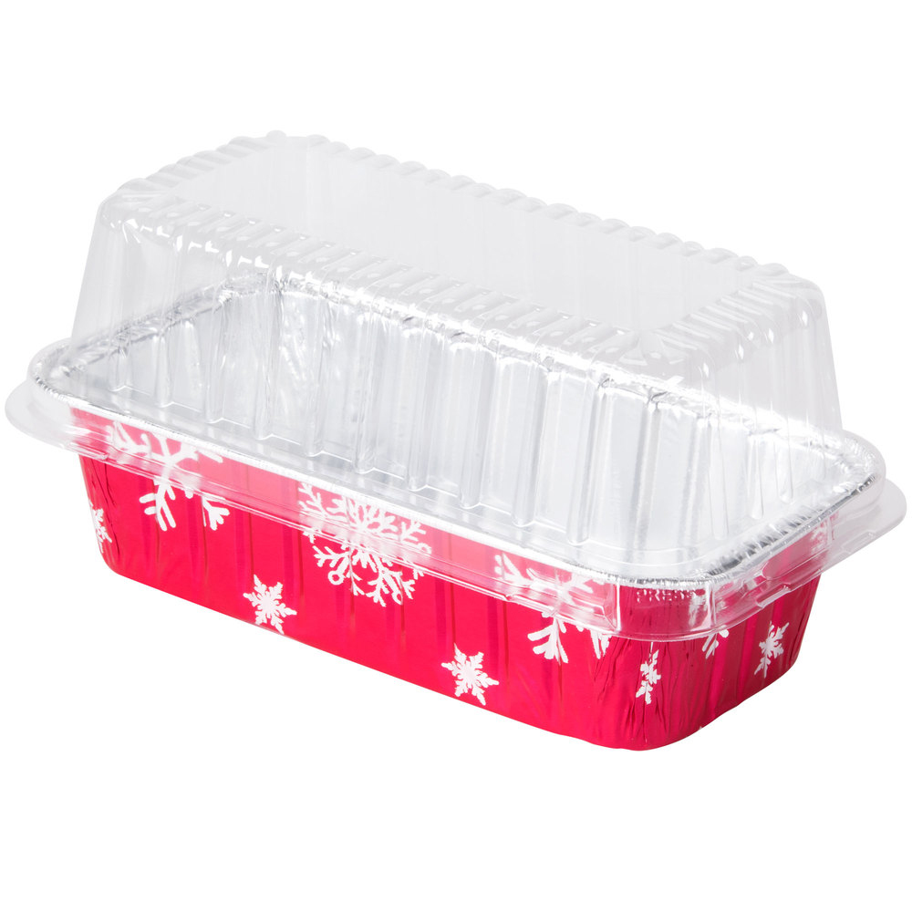 Durable Inc. - Aluminum Red 2 lb. Rectangular Holiday Loaf Pan With Plastic Dome Lid 9401P