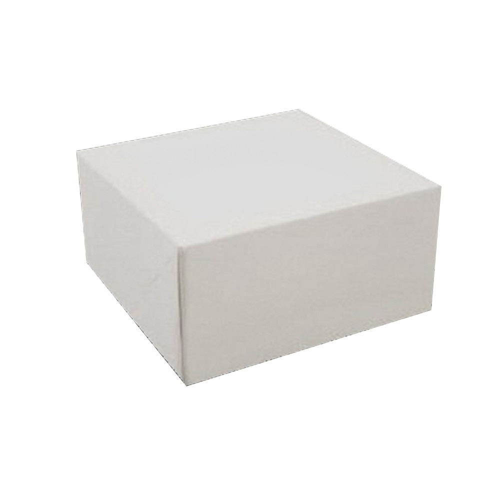 "White 8""x8""x5"" Square Non Window Chipboard Cake Box 885B"