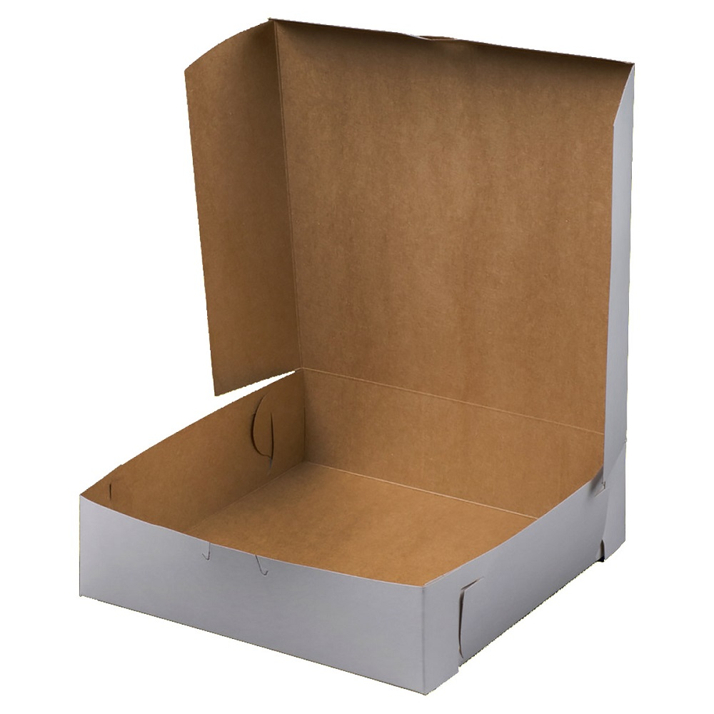 "White 9""x9""x2.5"" Square Paper Chipboard Cake Box 992B"