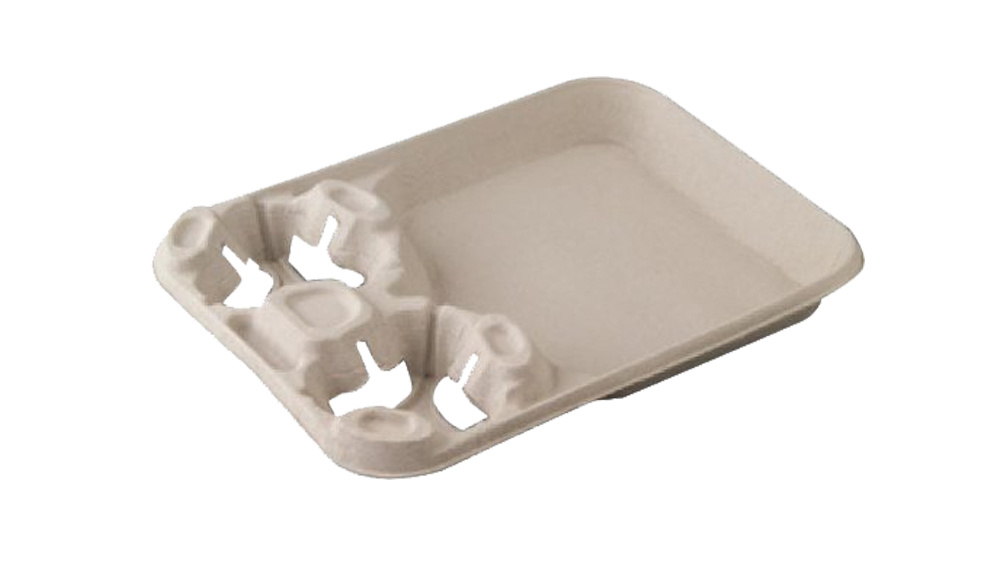 Huhtamaki 2 Cup 8-44oz Molded Fiber Carry Out Tray 20990