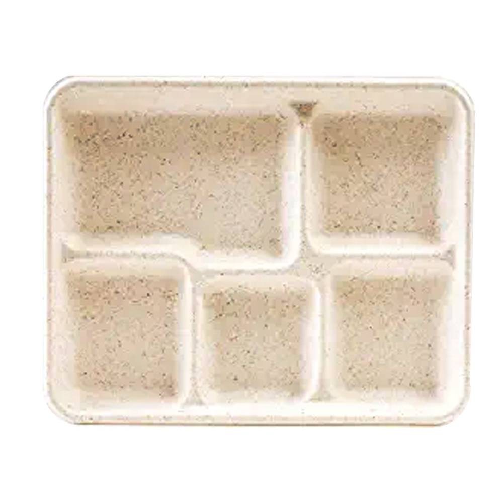 "Green Wave Intl. Inc. - Ovation Bagasse 9""x9""x3"" 5 Compartment Rectangular Fiber School Lunch"