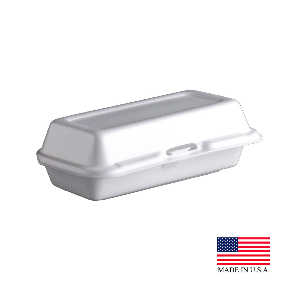 "Dart White 7.1""x3.8""x2.3"" Foam Single Compartment Hinged Container 72HT1"
