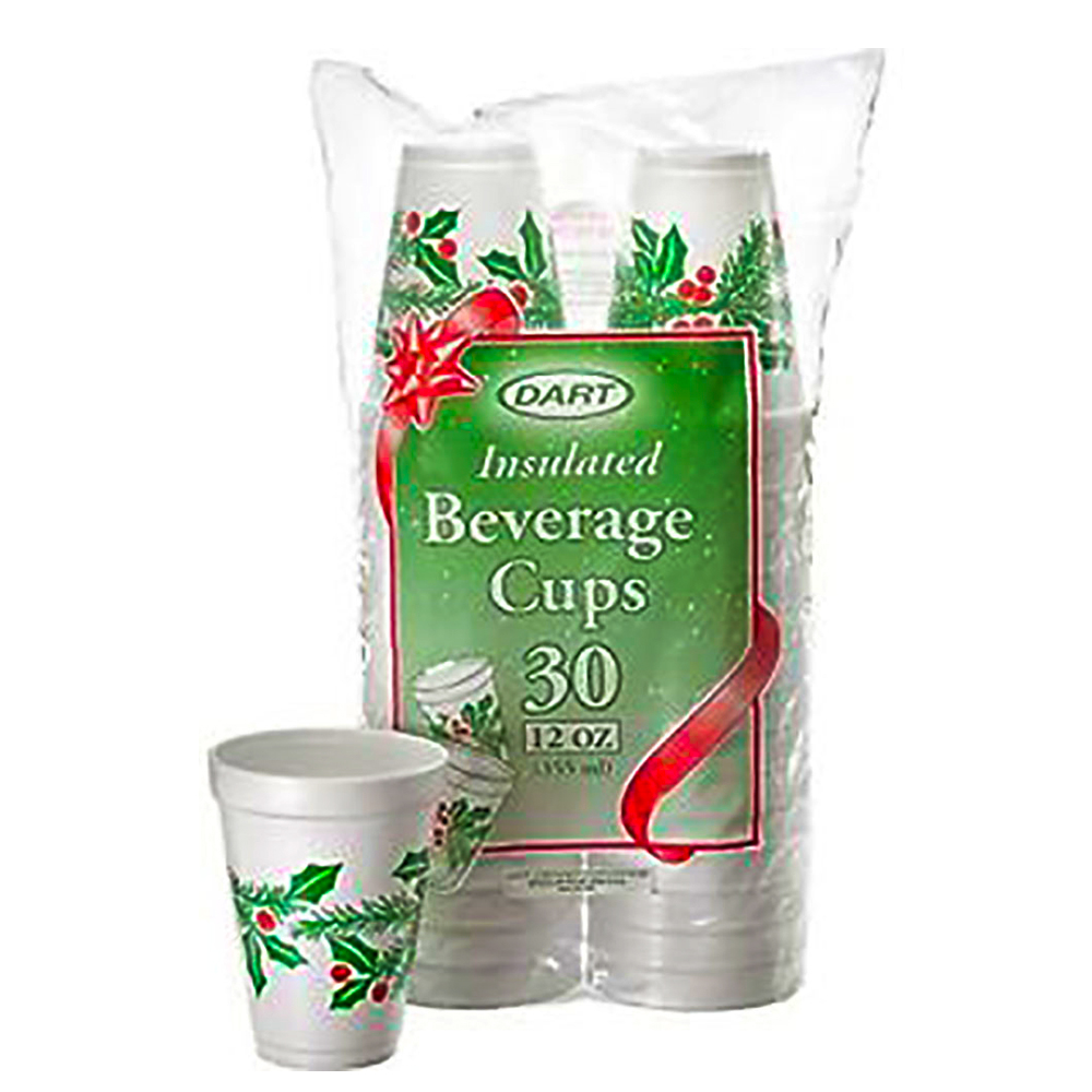 Dart White & Holly Print 12oz Holiday Foam Cup 12J30X