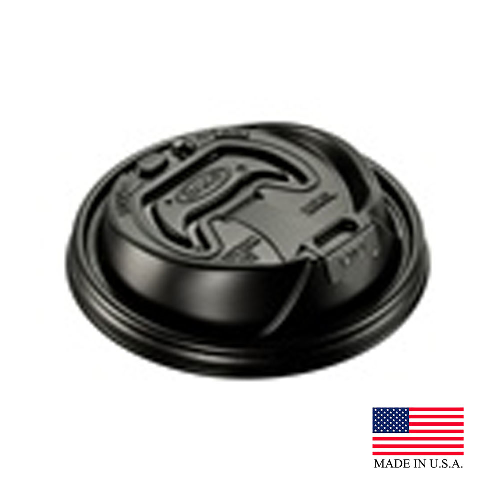 Dart - Optima Black 16 oz. Round Plastic Travel Lid With Reclosable Tab 16RCLBLK