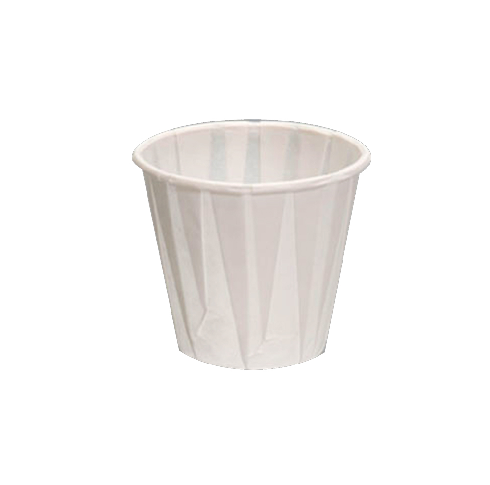 GenPak White 3oz Pleated Paper Water Cup W300F
