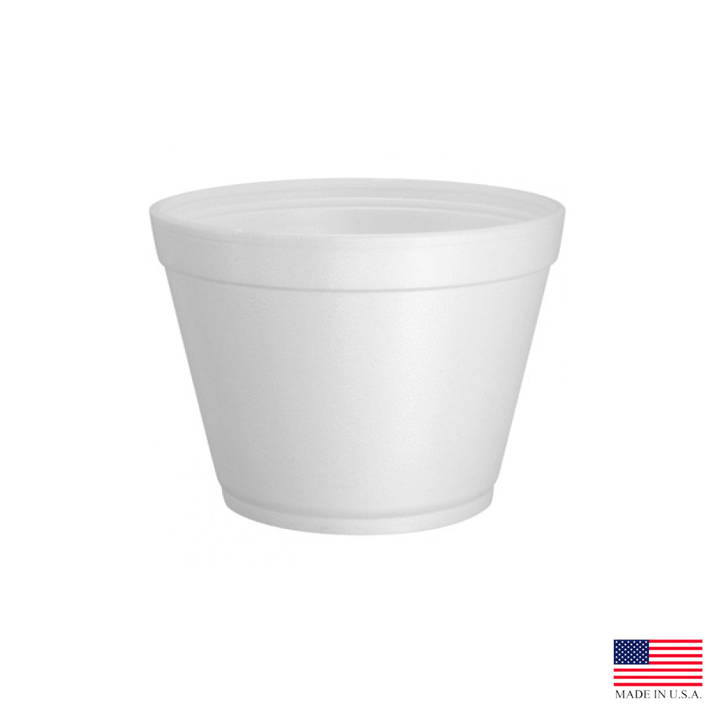Dart - J Cup White 16 oz. Extra Squat Insulated Round Foam Food Container 16MJ32