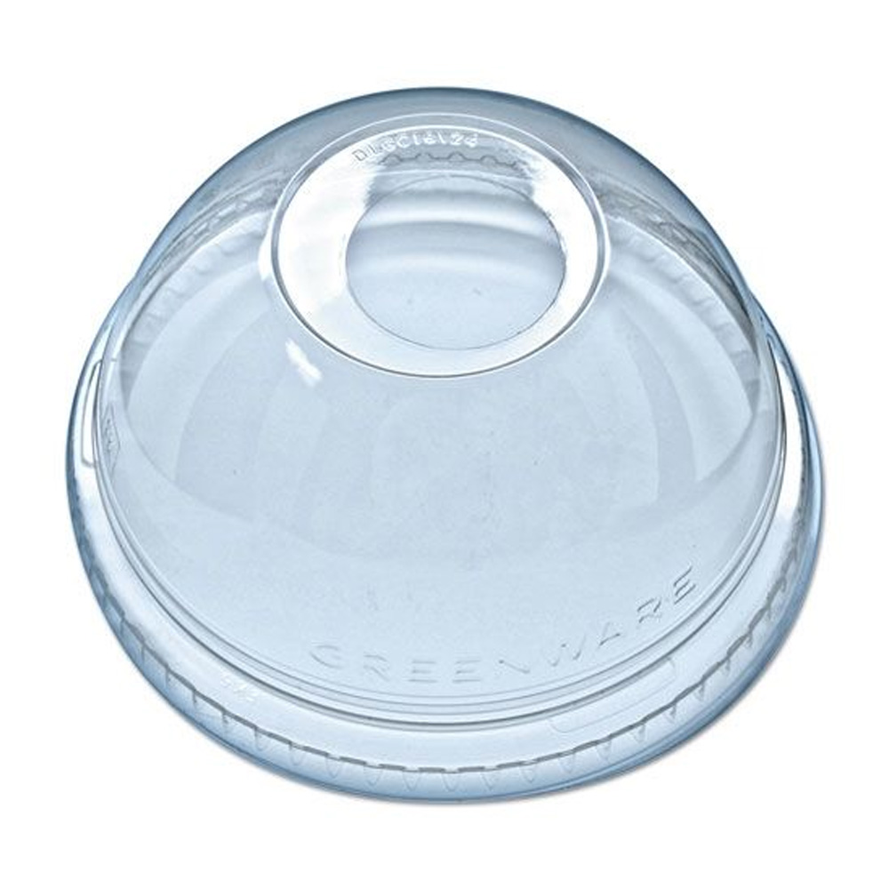 "Fabrikal - Clear 5-24 oz. Round Dome Lid With 1""Hole DLKC1624/95080588"