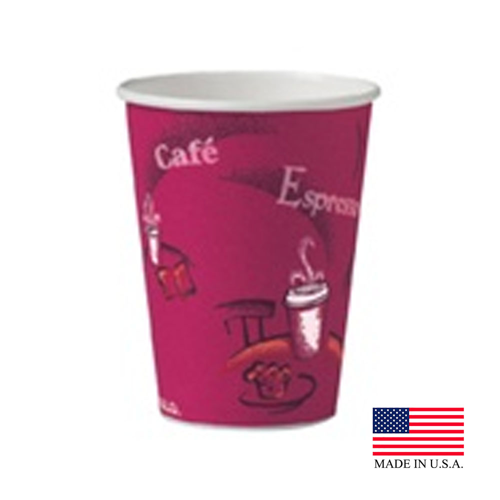 Solo Cup Printed 12oz Bistro Single Poly Paper Hot Cup 412SIN-0041