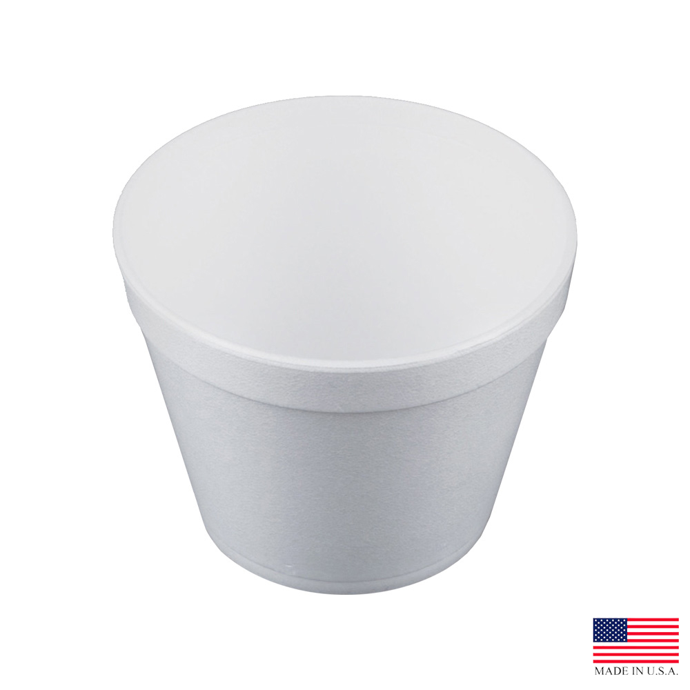 Dart - J Cup White 24 oz. Insulated Round Foam Food Container 24MJ48