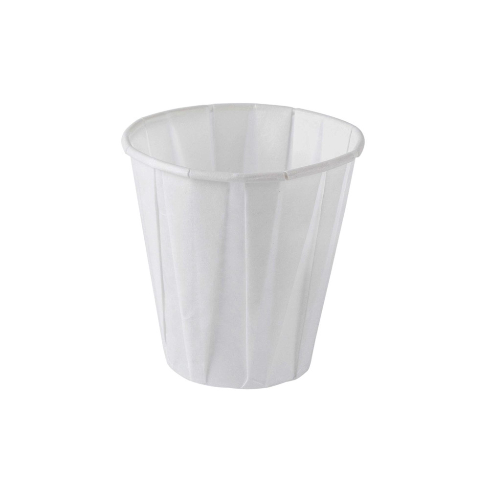 Genpak - White 4 oz. Pleated Paper Water Cup W400F