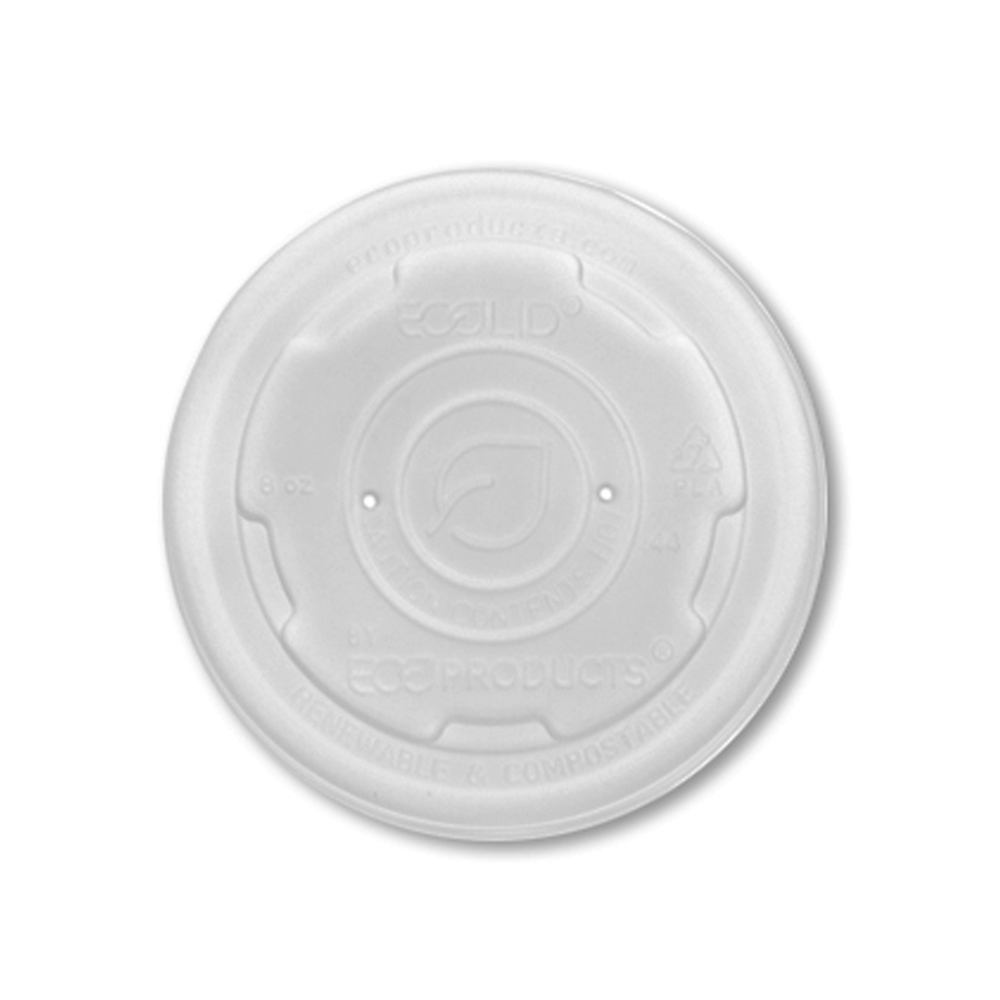 Eco Products Translucent 8oz Plastic Eco Soup     Container Lid EP-ECOLID-SPS