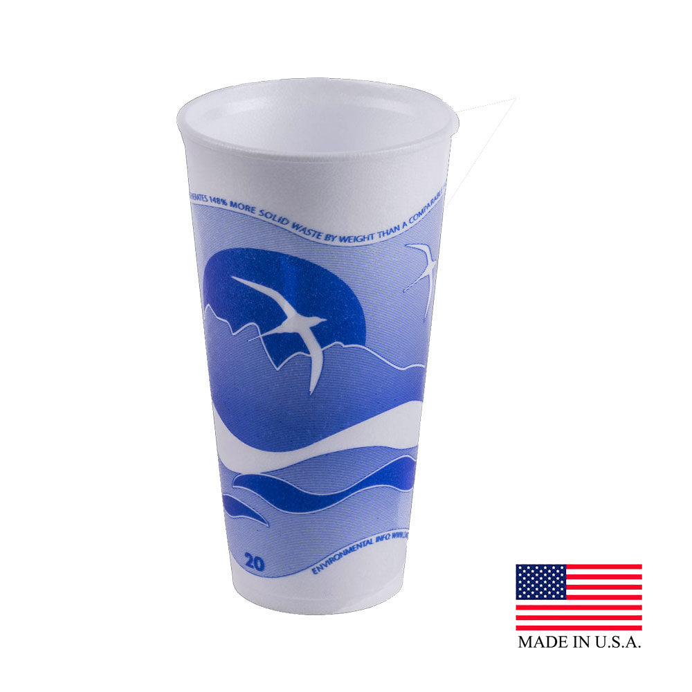Dart - Horizon White & Blue 20 oz. Foam Cup 20LX16H