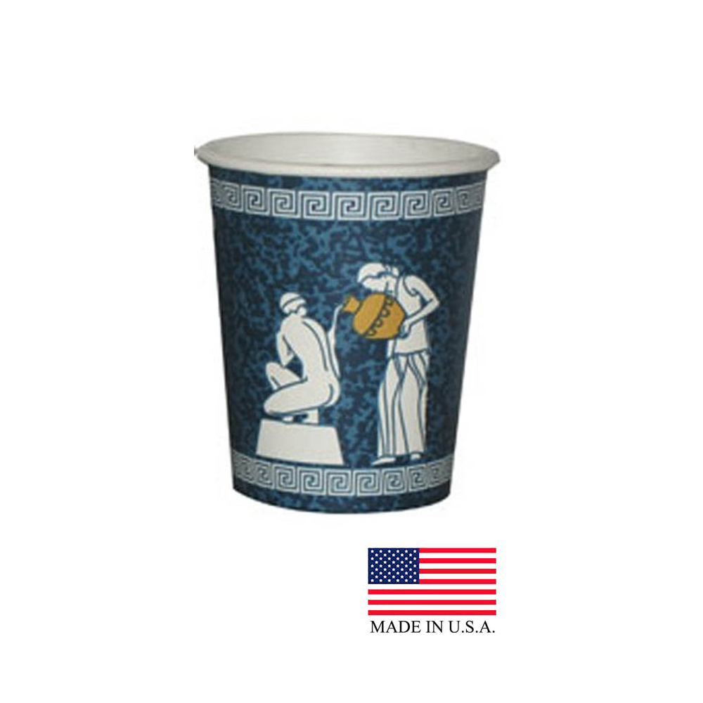 Dopaco Greek 8oz Blue Paper Hot Cup DHC8/24262