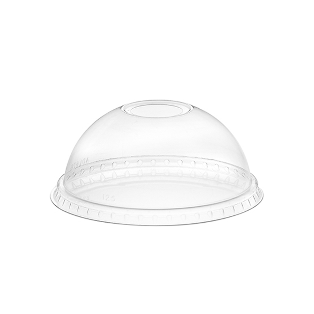 "Amhil - Clear 12-24 oz. Plastic Dome Lid With 1"" Hole ADL626"