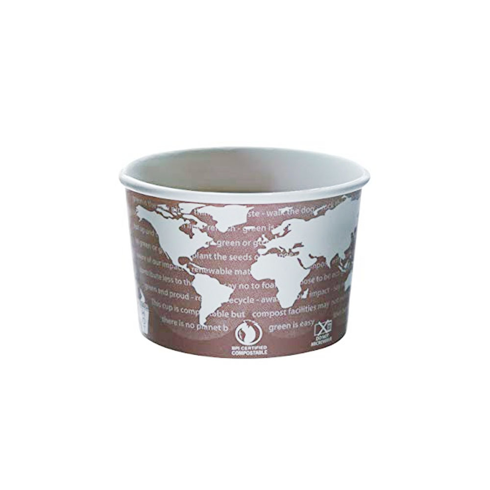 Eco Products Printed 8oz World Art Paper Soup     Container EP-BSC8-WA