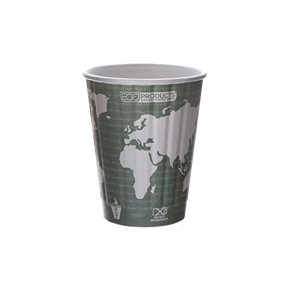 Eco Prod World Art 12oz Compostable Insulated Hot Cup EP-BNCH12-WD