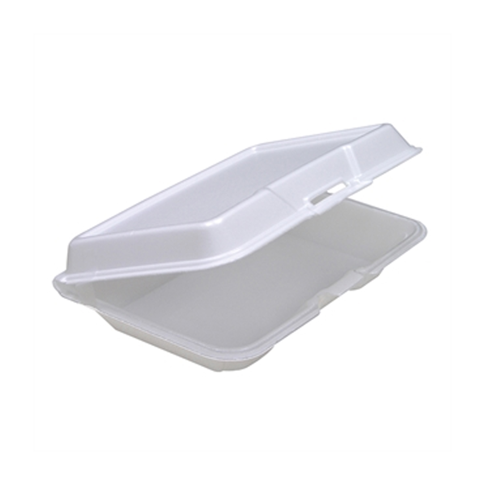 "Pactiv - White 9""x6""x2"" Large Low Profile Rectangular Foam Hinged Container YTH10207000"