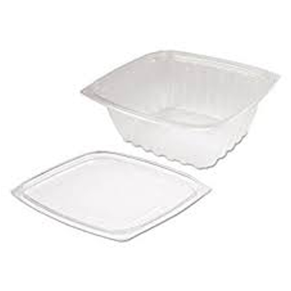 Dart - ClearPac Clear 32 oz. Square Plastic Container With Flat Lid Combo C32DCPR