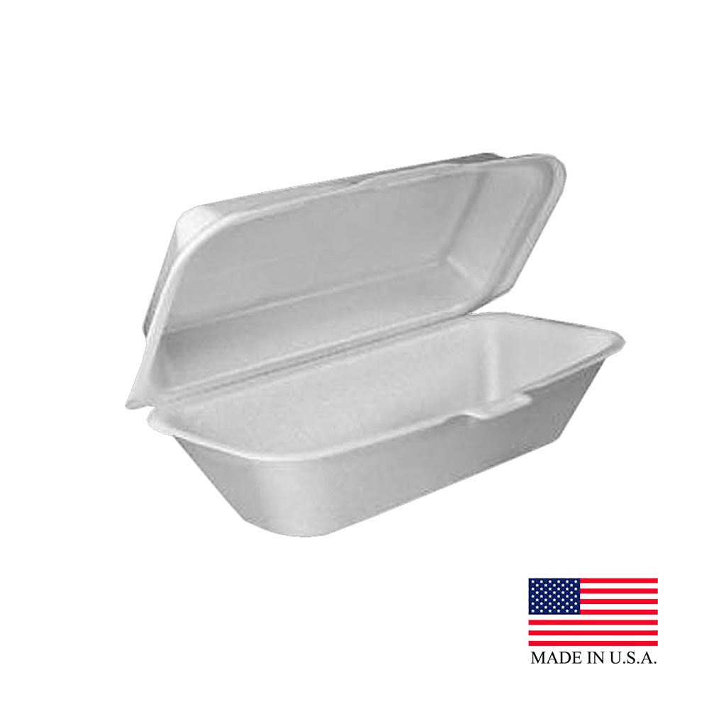 "Dart White 10""x5.5""x3"" All Purpose Hinged Foam Hoagie Container 99HT1R"