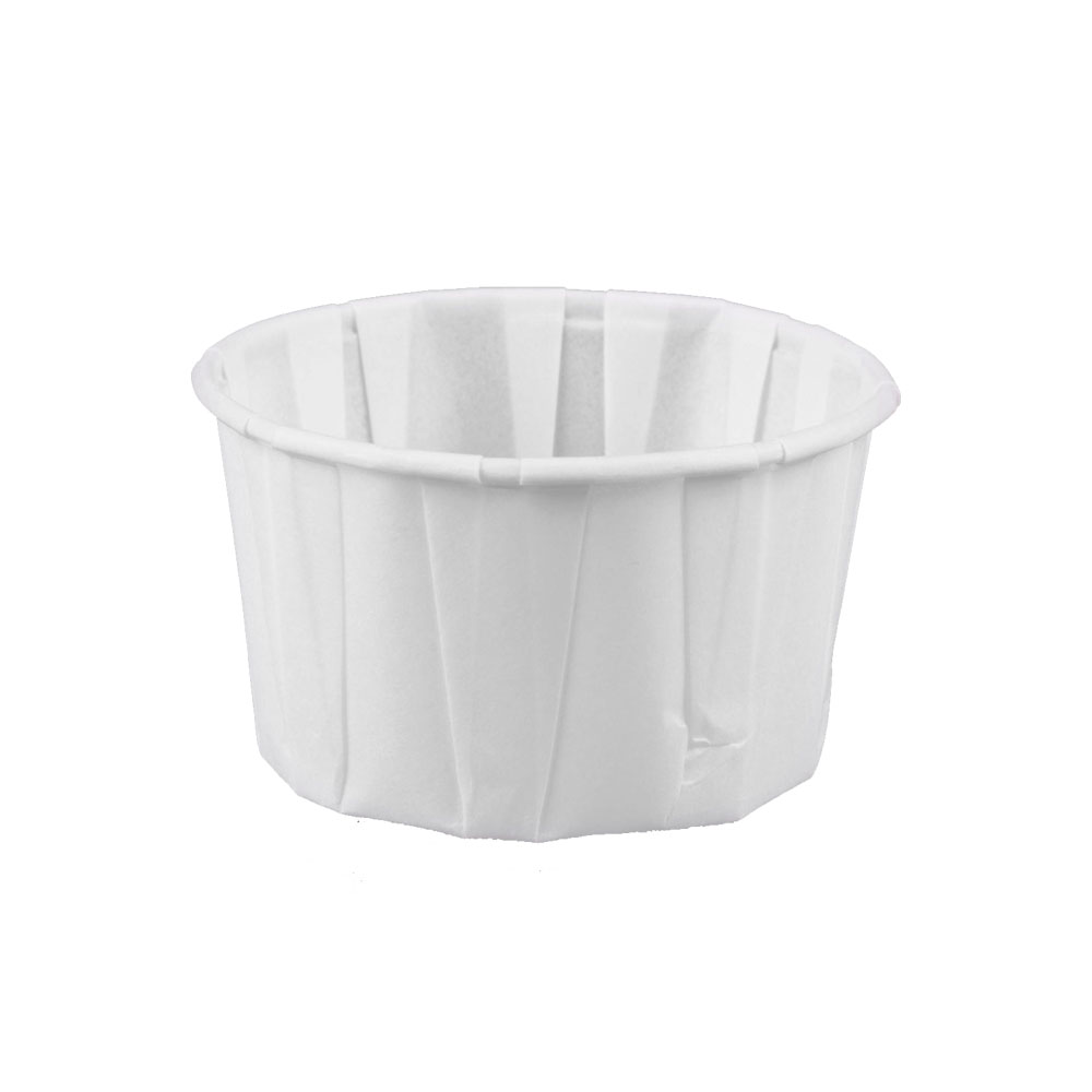 Solo Cup Co. - White 3.25 oz Pleated Paper SoufflePortion Cup 325-2050