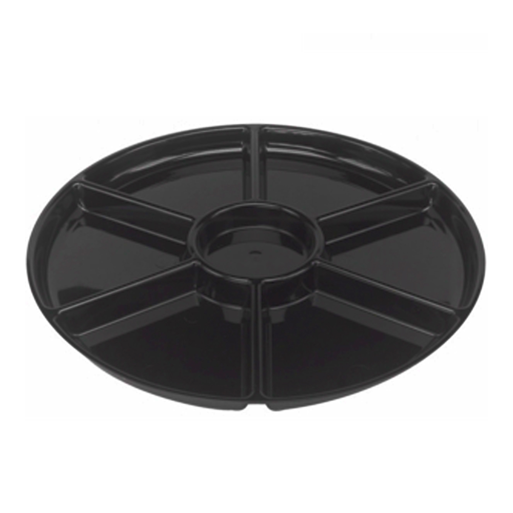 "Douglas Stephen - Black 18"" Plastic 6 Compartment Plastic Platter STAK86RB"