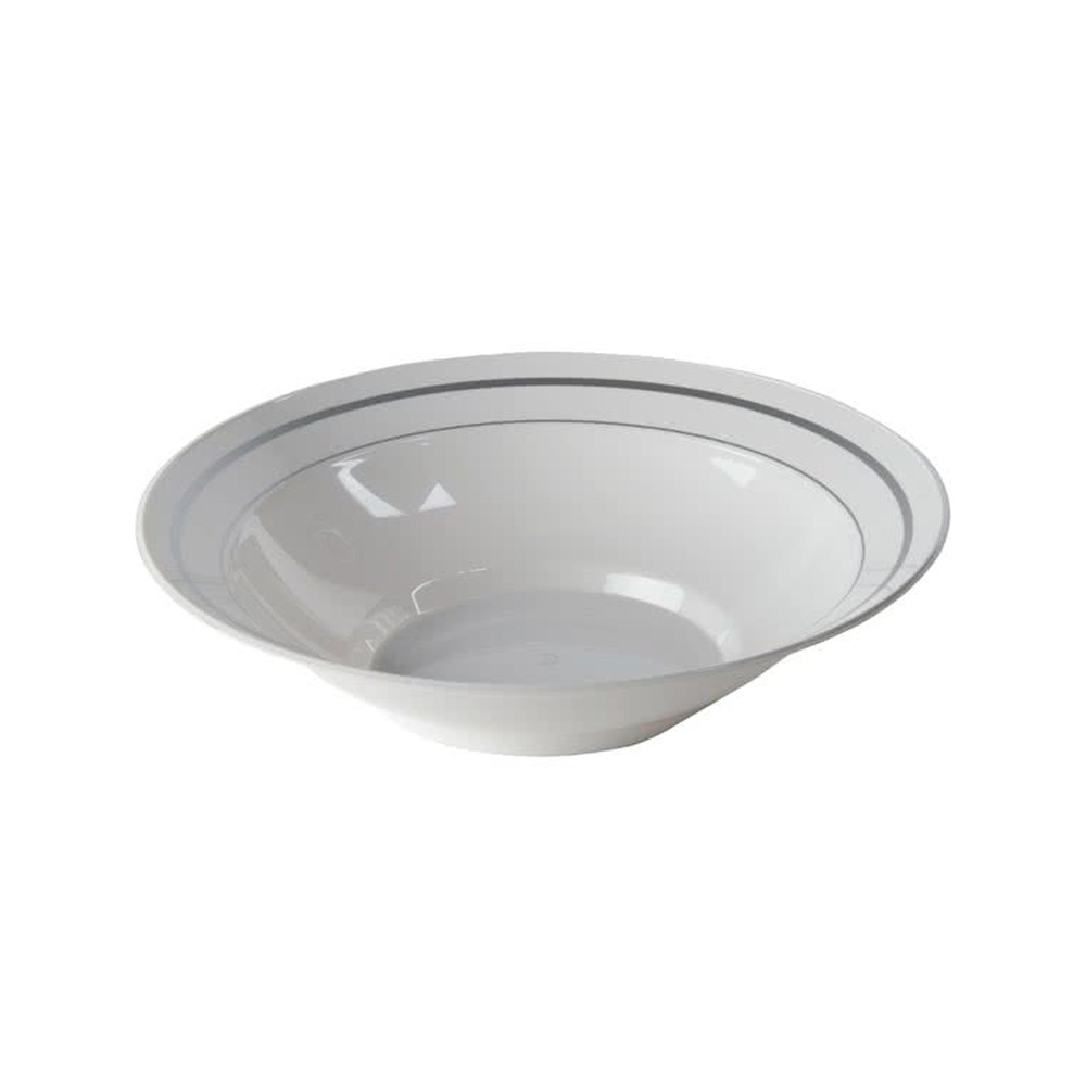 Comet White 10oz Plastic Bowl With Silver Trim    MPBWL10WSLVR