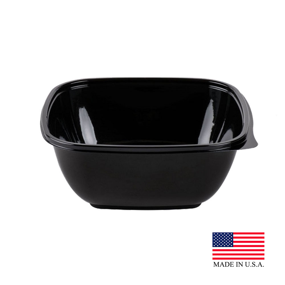 Dart - PresentaBowls Pro Black 48 oz. Square PET Bowl B48SB
