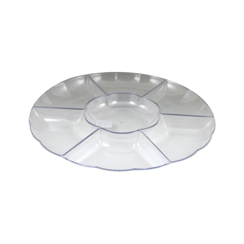 "Maryland Plastics Inc. - Sovereign Clear 18"" Round Plastic Sectional Tray MPI10186C"