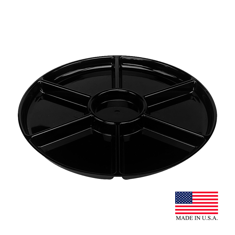 "Douglas Stephen - Black 16"" Plastic 6 Compartment Platter STAK66RB"