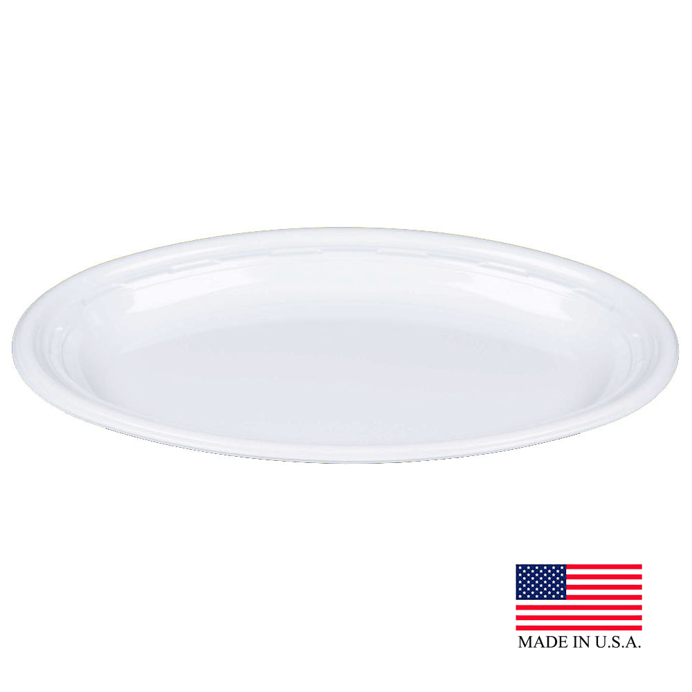 "Dart - Famous Service White 11"" Impact Round Plastic Platter 11PRWF"