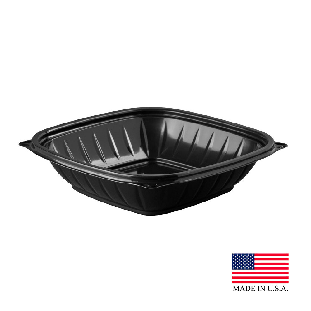 Dart - PresentaBowls Pro Black 32 oz. Square PET Bowl B32SB