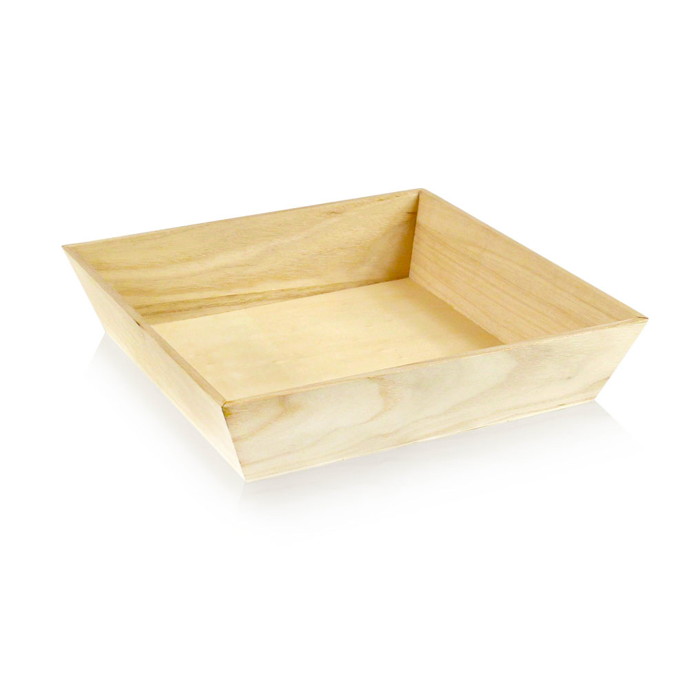 "Pacnwood - Wood 10""x10""x2.9"" Heavy Duty Square Tray WOODTRAY26H"