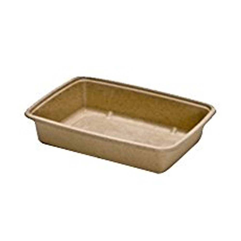 Sabert Beige 30oz Molded Fiber Pulp Rectangular   Container 46130F300N
