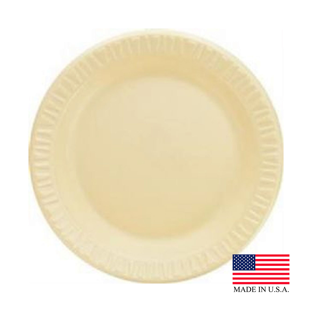 "Dart - Quiet Classic Honey 9"" Laminated Round Foam Plate 9PHQR"