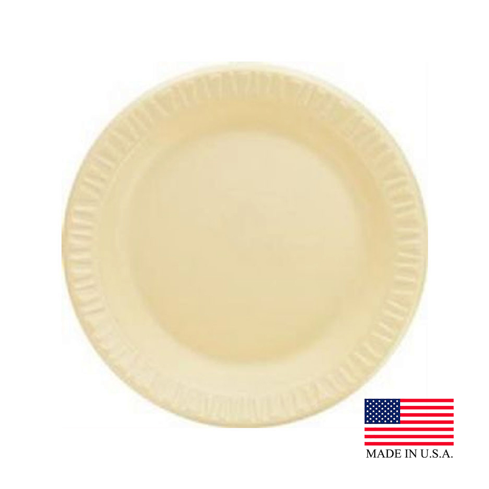 "Dart - Quiet Classic Honey 7"" Laminated Round Foam Plate 7PHQR"