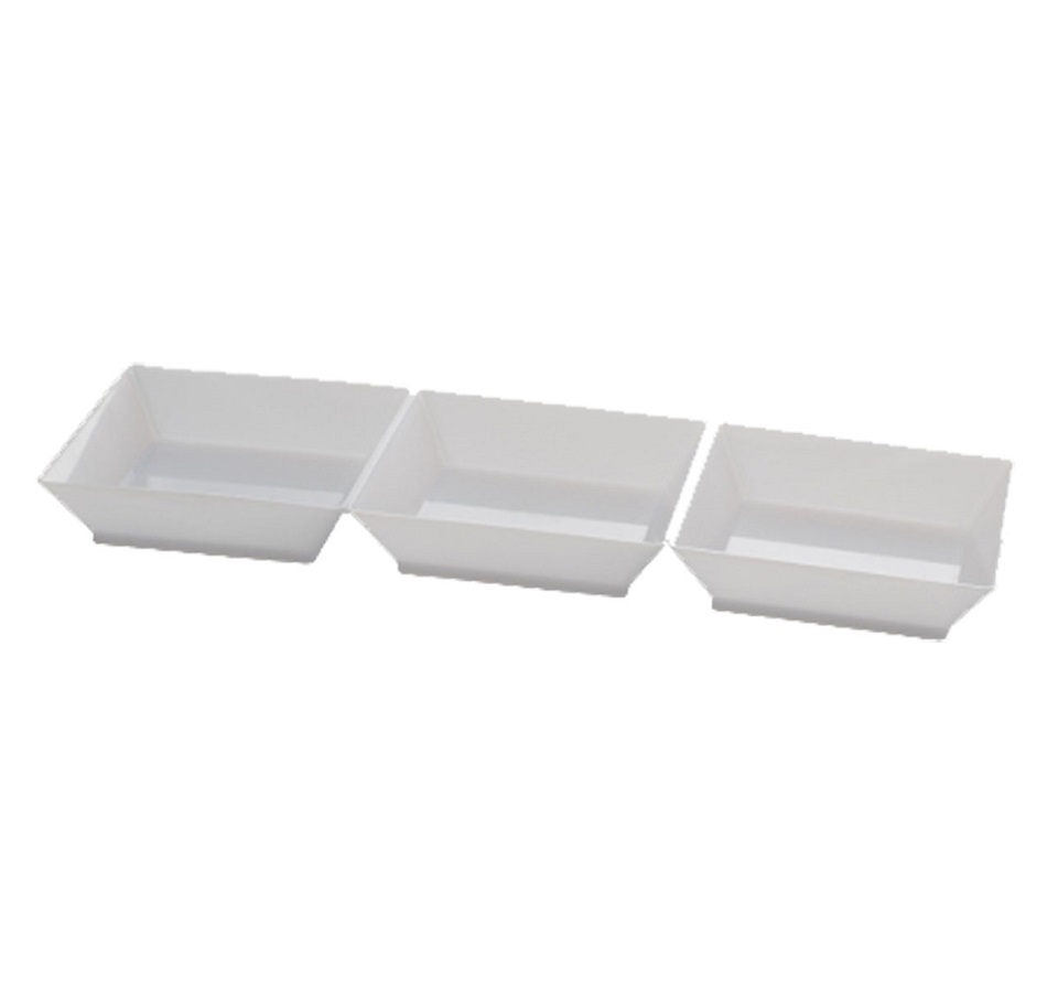 "Fineline Settings White 7.5"" Long Sectional Rectangular Tray 6212-WH"