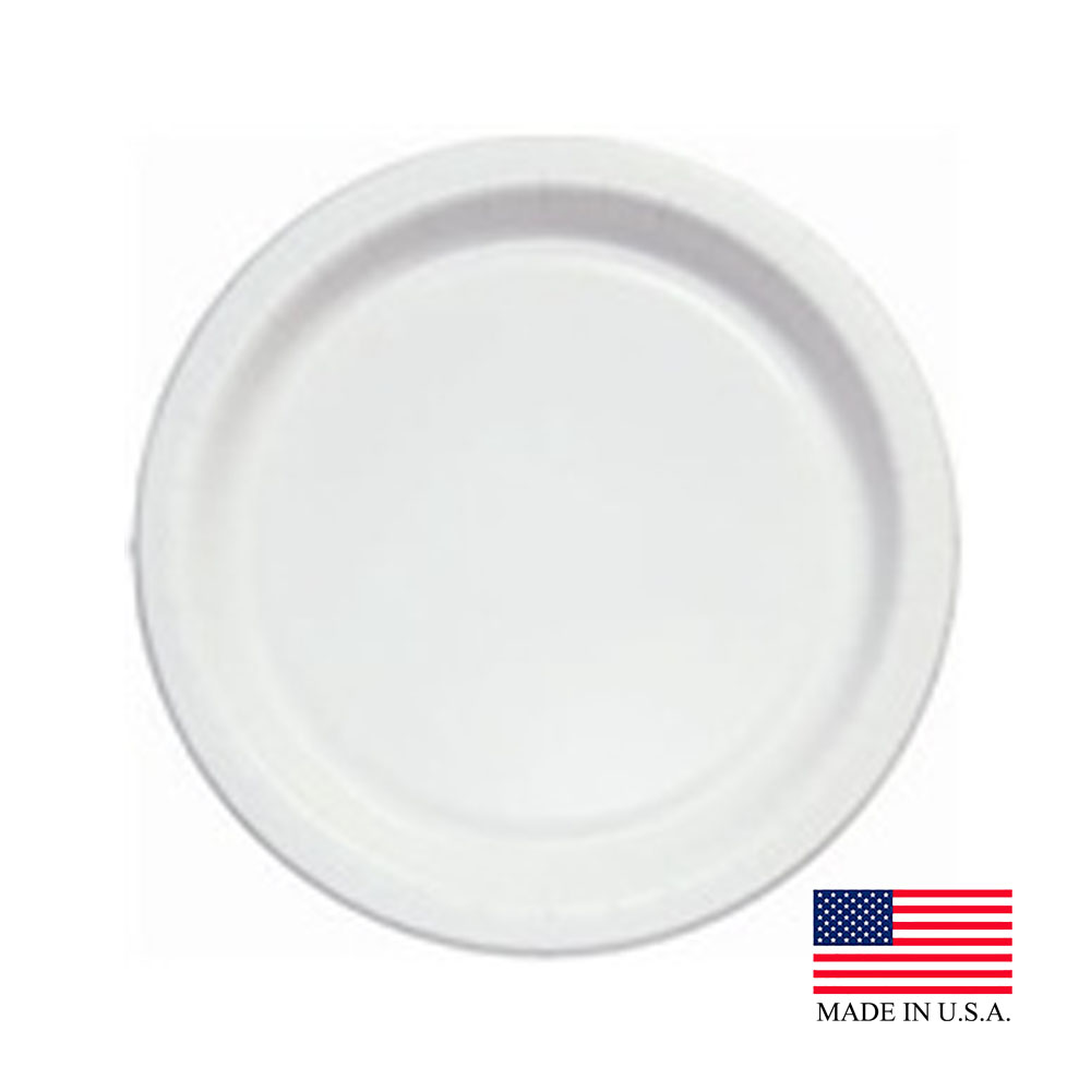 "Solo White 7"" Medium Weight Round Paper Plate MP7B-2054"