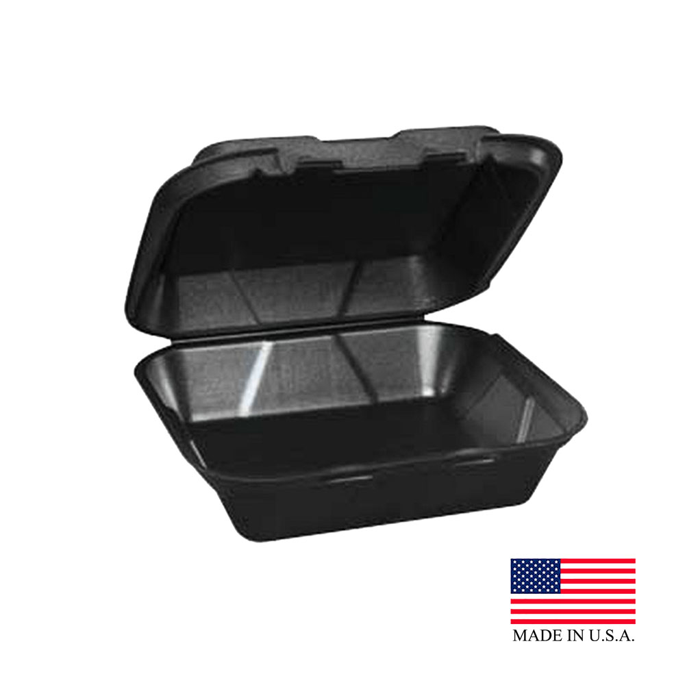 "Dart - Black 9 3/8"" x 9"" x 3"" Large Insulated Rectangular Foam Hinged Container 90HTPFB1R"