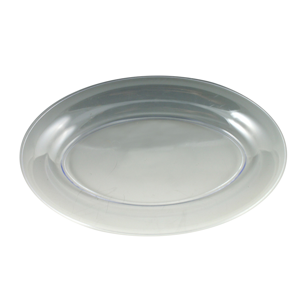 "Maryland Plastics Clear 8""x12"" Sovereign Plastic  Oval Tray MPI08126C"