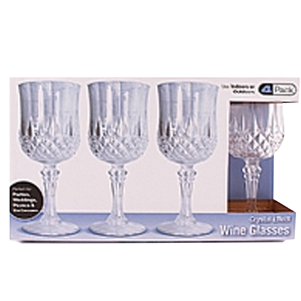 Blue Sky Trading Clear 4 Pack Crystal Like Wine   Glass 1704