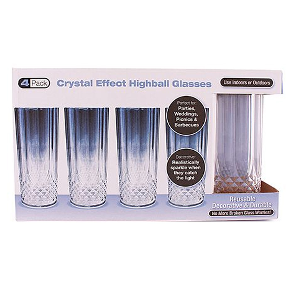Clear 4 Pack Crystal Like Plastic                 Highball Glass 1706
