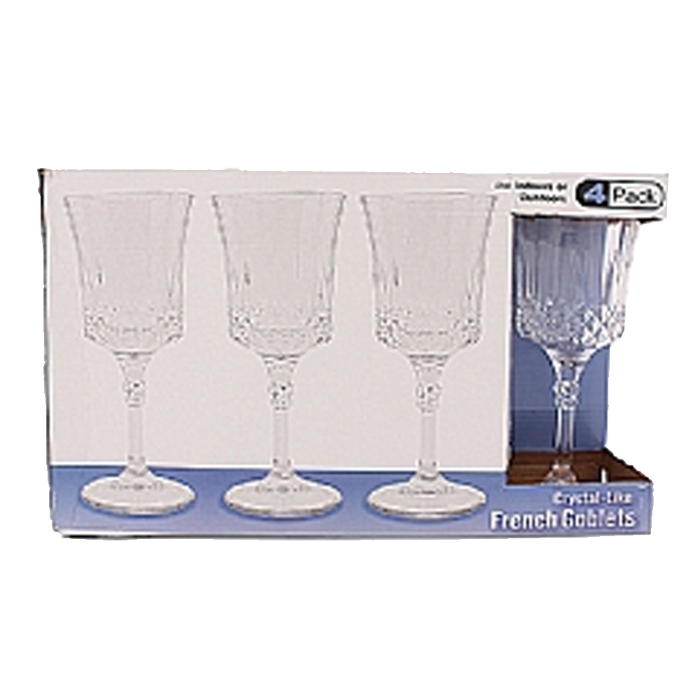 Clear 4 Pack Crystal Like Plastic French Goblets  1817